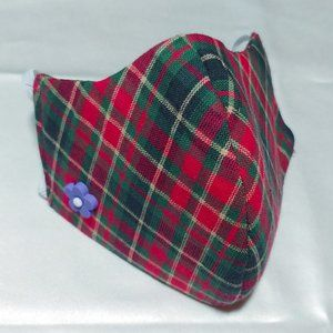Accessories - 😷Firm Olson Face Mask w/ Charm - Plaid - XSmall